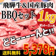 (冷凍)送料無料 飛騨牛&国産豚肉入りバーベキューセット1kg入り 飛騨牛400g+国産豚肉600g 大人数/肉セット