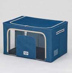 武田コーポレーション 収納ボックス ネイビー  60×42×35cm 積み重ねできる窓付収納ボックスワイド (E8-TMS60