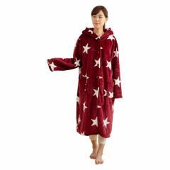 ナイスデイ モフア mofua あったか ルームウェア フード付き 着る毛布 M 着丈110cm 星柄 ワインレッド 4847