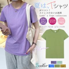 Tシャツ 綿100% 無地 くすみカラー おしゃれ 半袖 春夏 レディース トップス カットソー ティーシャツ カジュアル