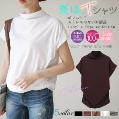 Tシャツ プチハイネック 腰タック入り 半袖 ドルマンスリーブ 大きいサイズあり 綿100% 無地 春夏 レディース トップス
