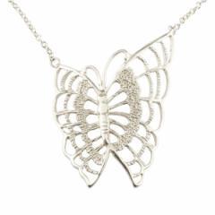ネックレス 蝶 バタフライ ホワイトゴールドk18 レディース チェーン 人気 18金 送料無料