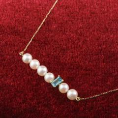 パールネックレス 真珠 フォーマル ラインネックレス ブルートパーズ イエローゴールドk10 10金 レディース チェーン 人気 11月誕生石 送