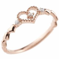 ピンキーリング ハート ピンクゴールドk18リング ダイヤモンド 指輪 華奢リング 重ね付け 指輪 細め 細身 k18 アンティーク レディース