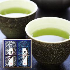 藍染缶入り 静岡県産煎茶2本詰め合わせ 静岡茶 深むし 日本茶 お茶 緑茶 ギフト 仏事 慶弔 御供 内祝 御礼 のし 包装 箱入り 桐箱 豪華