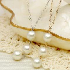K18YG/K14WG あこや真珠3連 ネックレス  三連 真珠 トリロジーパール 3粒