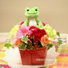 【母の日】【生花】【ボンジュールピクルス】カエルのマスコット付き季節のお花のミルクBOXフラワーアレンジメント FL-AR-344