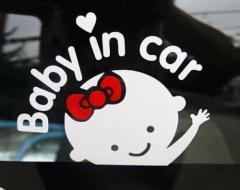 新品 送料無料●赤ちゃんが乗っています ステッカー シール baby in car ウォールステッカー●女の子 カー用品 セーフティグッズ