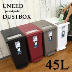 分別 ゴミ箱 45リットル プッシュ&ペダル ダストボックス UNEED ユニード 45L ごみ箱 オシャレ 2way ふた付き シンプル 新生活 一人暮ら