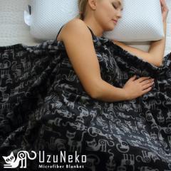 毛布 シングル 大人のねこ柄 マイクロファイバー 毛布 UzuNeko 子猫のような肌触り ふわふわ あったか ギフト ネコ big_ki