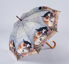 【ジャンプ傘】ミルクを飲むネコ柄