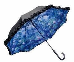 センスあるフリル付きジャンプ傘・モネ 睡蓮☆晴雨兼用傘