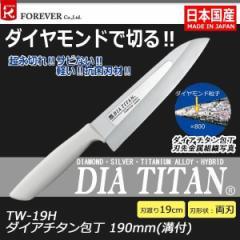 フォーエバー 日本製 ダイアチタン包丁 190mm(溝付) TW-19H