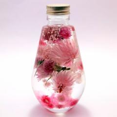 フラワーハーバリウム  春の淡いピンクアレンジ    ディアドロップガラスボトル 記念日 花ギフト  花母の日