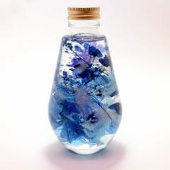 フラワーハーバリウム  ネイビーブルーアレンジ  ディアドロップガラスボトル 記念日 母の日ギフト