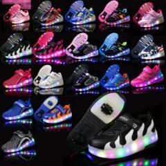2輪タイプ ローラースケート 子供 大人 キッズ ローラーシューズ LED 光 る 男女兼用 スニーカー 1輪タイプ 17ylbx01