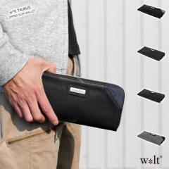 スリムウォレット ラウンド 長財布 メンズ L字ファスナー 薄型 軽量