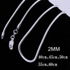 アクセサリー ネックレス シルバー 925 スネークチェーン チェーン 2mm 蛇腹 シンプル レディース メンズ