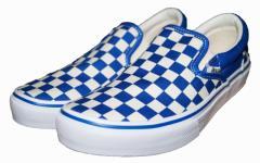 VANS バンズ スニーカー スリッポン チェッカー 青白 メンズ 574983-0002 ヴァンズ ブルー ホワイト SLIP ON シューズ 靴