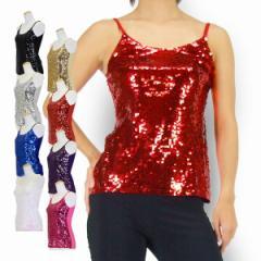 ★IA0128M0129L フロントスパンコールキャミ★スパンコール タンクトップス スパンコール ダンス衣装