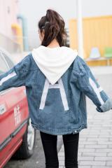 英文字がオシャレな欧米風デニムジャケット フード付 春物 韓国ファッション