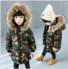 冬着 ファー付き 中綿ジャケット コート 男の子女の子 厚手 子供服 ロング丈コート キッズ フード付き アウター ジュニア 防寒 迷彩柄