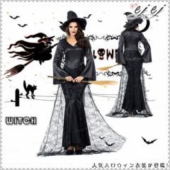 ハロウィン 魔女 2点セット 女王様 巫女 パープル 帽子付きハロウィン コスプレ ブラック セットコスチューム Halloween ワンピース