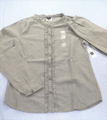 b34c0e1fbca6c ギャップ GAP シャツ ブラウス 長袖 160cm 新品 グレー系 アメカジ 無地 トップス 女の子 キッズ ジュニア 子供
