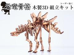 【 恐竜骨格 木製 3D 組立キット 】 ステゴサウルス ウッドクラフト 日本製 ゆうパケット送料無料