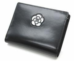 シンプルでとにかく可愛い2つ折り財布♪ CLATHAS(クレイサス)  黒×白 カメリアショートウォレット 0040 二つ折り財布