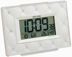 CITIZEN シチズン クロック RHYTHM(リズム時計) 電波 目覚まし 時計 フィットウェーブアビスコ スワロフスキー ・ クリスタル 飾り [4903