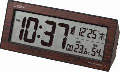 CITIZEN シチズン リズム時計工業 目覚まし時計 電波 デジタル R195 暗所 ライト 自動 点灯 温度 湿度 曜日 カレンダー 木目仕上げ[4903