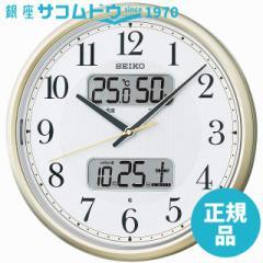 SEIKO CLOCK セイコー クロック 時計 カレンダー温湿度計つき自動点灯アナログ電波掛時計(薄金) KX384S