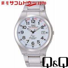 Q&Q キューアンドキュー 腕時計 ウォッチ 電波ソーラー腕時計 SOLARMATE ホワイト HG12-204 メンズ