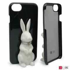 J_case うさぎケース for iPhone8 / 7 / 6s / 6  白うさぎ+黒ケース JC-i8RWB