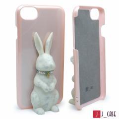 J_case うさぎケース for iPhone8 / 7 / 6s / 6  白うさぎ+ピンクケース JC-i8RWP
