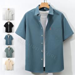カジュアルシャツ メンズ ゆったりシャツ シャツ ビジネス 半袖シャツ おしゃれ 白シャツ 夏 大きくサイズ 通学 通勤 2021