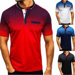 ポロシャツ 半袖 メンズ 吸汗速乾 スポーツウェア ゴルフウェア グラデーション