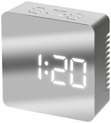 アイリスプラザ 目覚まし時計 LED ミラークロック デジタル 置き時計 温度計 シルバー シルバー アイリスプラザ (IRI
