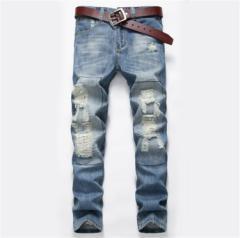 ダメージジーンズ スキニーデニムパンツ メンズ細身パンツ スリム クラッシュボトムス 夏 大きいサイズ 欧米風 ストレッチ