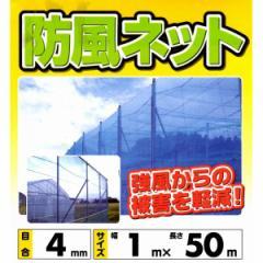防風ネット 1.0m×50m 4mm目 ブルー 防風網 風よけネット ブルーネット
