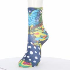 プリントソックス インコアート柄 23-25cm 綿混素材 レディース クルーソックス 靴下