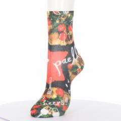 プリントソックス パエリア柄 23-25cm 綿混素材 レディース クルーソックス 靴下