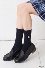 スクールソックス マイメロディ ワンポイント刺繍 20cm丈 白 紺 ショート 靴下 サンリオ