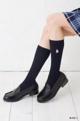 スクールソックス マイメロディ ワンポイント刺繍 28cm丈 白 紺 靴下 サンリオ