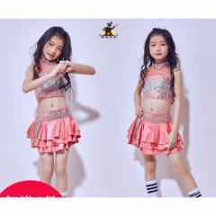 2枚送料無料キッズダンス衣装 スパンコール/上下セットトップス+スカート+靴下3点セット女の子ジャズダンスウエア 舞台演出服チアガール
