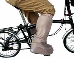 自転車屋さんのシューズカバーD-3SC ベージュ 靴が濡れない足のレインカバー フリー 【大久保製作所 MARUTO】
