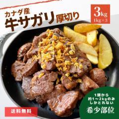 牛肉 厚切り サガリ 3kg (1kg×3パック)  まとめ買い 肉 冷凍 冷凍食品 カナダ産 カナダビーフ 牛 ホルモン スライス 焼肉 バーベキュー