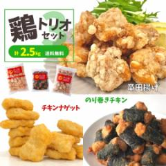 竜田揚げ チキンナゲット のり巻きチキン セット 2.5kg 送料無料 冷凍食品 ポイント消化 業務用 大容量 食品 おかず お弁当  まとめ買い