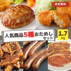福袋 肉 5種 1.7kg 送料無料 冷凍食品 冷凍食品 コロッケ ウインナー ハンバーグ 豚ロース ホルモン はらみ セット スターゼン 大容量 お